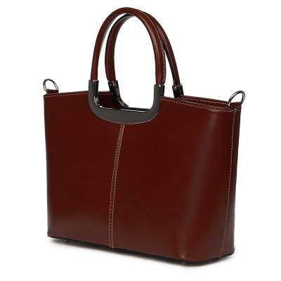 Чанта от естествена кожа Patrizia, кафява