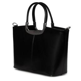 Чанта от естествена кожа Patrizia, черна