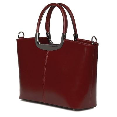 Чанта от естествена кожа Patrizia, червена