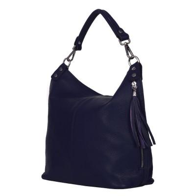Дамска чанта от естествена кожа Sarah, тъмносиня