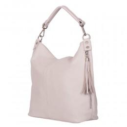 Дамска чанта от естествена кожа Sarah, кремава