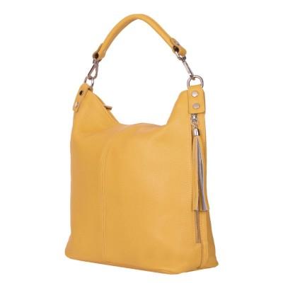 Дамска чанта от естествена кожа Sarah, жълта горчица