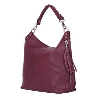 Дамска чанта от естествена кожа Sarah, лилава