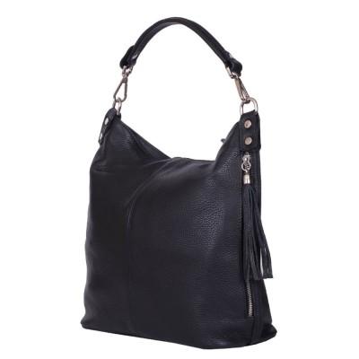 Дамска чанта от естествена кожа Sarah, черна