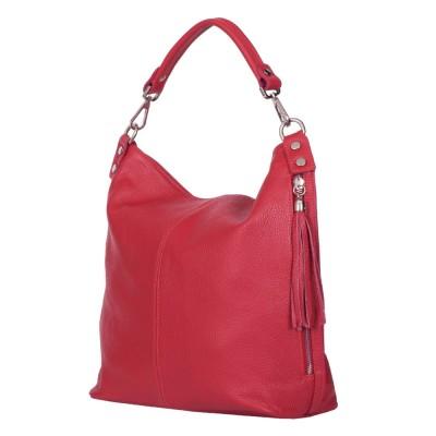 Дамска чанта от естествена кожа Sarah, червена