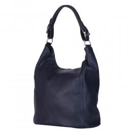 Дамска чанта от естествена кожа Silvia, тъмносиня
