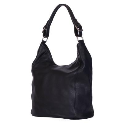 Дамска чанта от естествена кожа Silvia, черна
