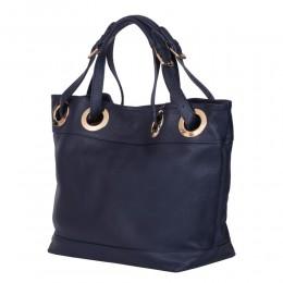 Дамска чанта от естествена кожа Stella, тъмносиня