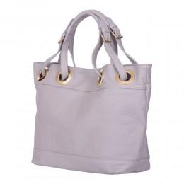 Дамска чанта от естествена кожа Stella, сива