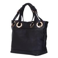 Дамска чанта от естествена кожа Stella, черна