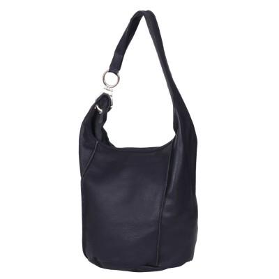 Дамска чанта от естествена кожа Rosana, тъмносиня