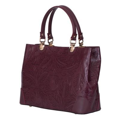 Дамска чанта от естествена кожа Sharon, бордо