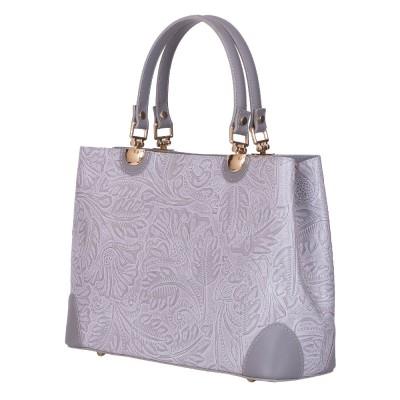 Дамска чанта от естествена кожа Sharon, сива