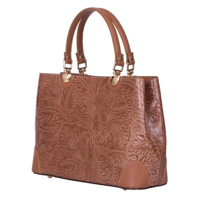 Дамска чанта от естествена кожа Sharon, кафява