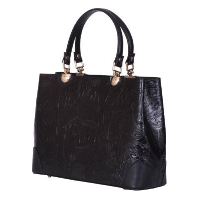 Дамска чанта от естествена кожа Sharon, черна