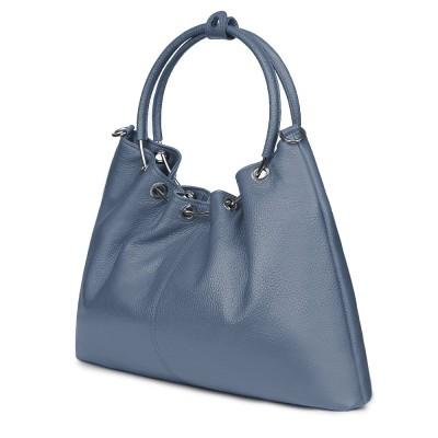 Дамска кожена чанта Venezia, светлосиня