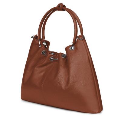 Дамска кожена чанта Venezia, коняк