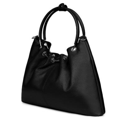 Дамска кожена чанта Venezia, черна