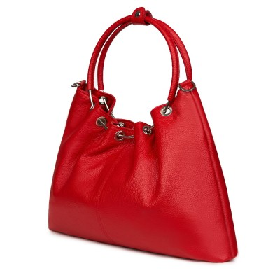 Дамска кожена чанта Venezia, червена