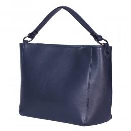 Дамска чанта от естествена кожа Victoria, тъмносиня