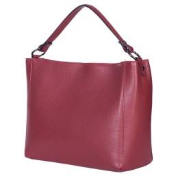 Дамска чанта от естествена кожа Victoria, тъмночервена