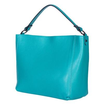 Дамска чанта от естествена кожа Victoria, тюркоаз