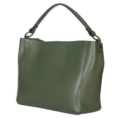 Дамска чанта от естествена кожа Victoria, зелена