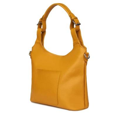 Дамска чанта от естествена кожа Serena, жълта