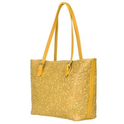 Кожена чанта, с щампа с флорален мотив Emilia, жълта