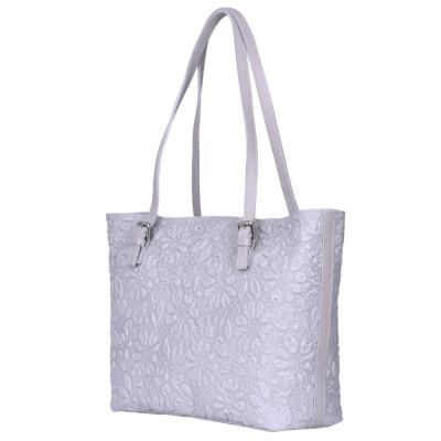 Кожена чанта, с щампа с флорален мотив Emilia, сива