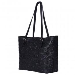 Кожена чанта, с щампа с флорален мотив Emilia, черна