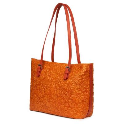 Кожена чанта, с щампа с флорален мотив Emilia, оранжева