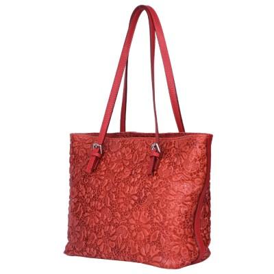 Кожена чанта, с щампа с флорален мотив Emilia, червена