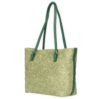 Кожена чанта, с щампа с флорален мотив Emilia, зелена