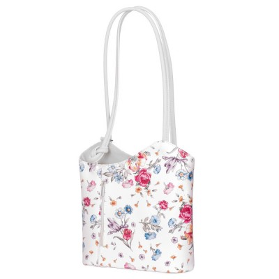 Кожена чанта с флорален мотив Viola, дръжки в бяла