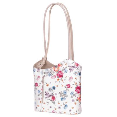 Кожена чанта с флорален мотив Viola, дръжки в светло бежова