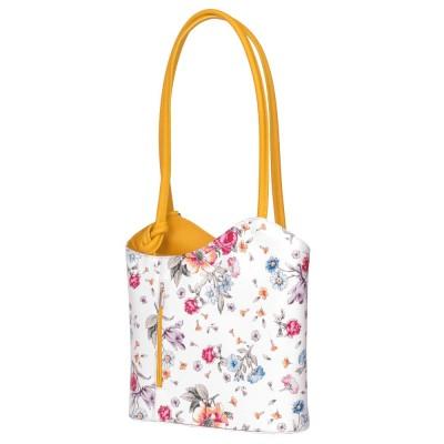 Кожена чанта с флорален мотив Viola, дръжки в жълта