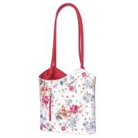 Кожена чанта с флорален мотив Viola, дръжки в червена