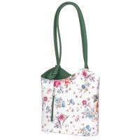 Кожена чанта с флорален мотив Viola, дръжки в зелена