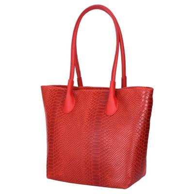 Чантата тип портмоне от естествена кожа Ava, червена