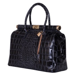Чанта от естествена кожа Florelle, тъмносиня