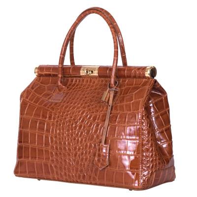 Чанта от естествена кожа Florelle, коняк