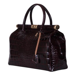 Чанта от естествена кожа Florelle, бордо