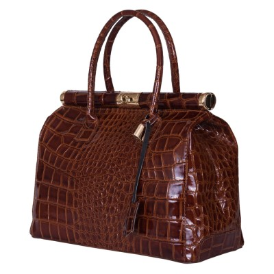 Чанта от естествена кожа Florelle, кафява