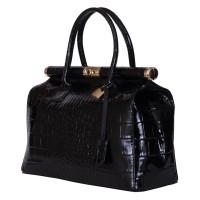 Чанта от естествена кожа Florelle, черна