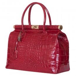 Чанта от естествена кожа Florelle, червена