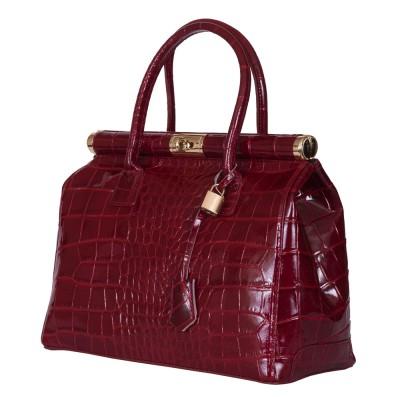 Чанта от естествена кожа Florelle, тъмночервена