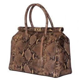 Кожена чанта с щампа змийска кожа Florelle, бежова