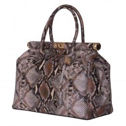 Кожена чанта с щампа змийска кожа Florelle, сива