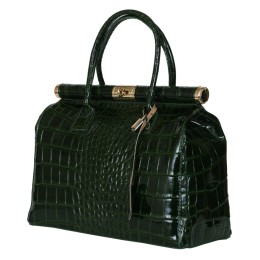 Чанта от естествена кожа Florelle, зелена
